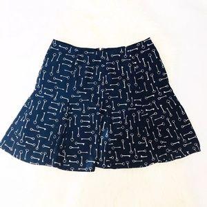 Banana Republic Factory Blue Key Print Mini Skirt